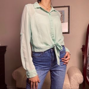 Mint Green button down with lace